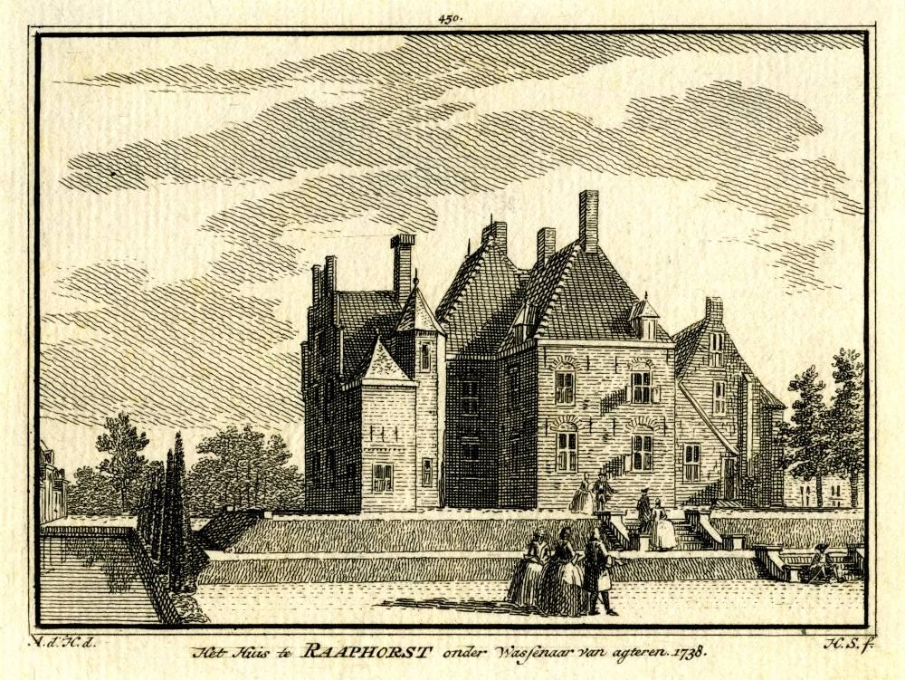 Kasteel Raaphorst in Wassenaar. Tekening Abraham de Haen, gravure Hendrik Spilman (Uit: Het Verheerlykt Nederland, Isaac Tirion, 1745/1774)